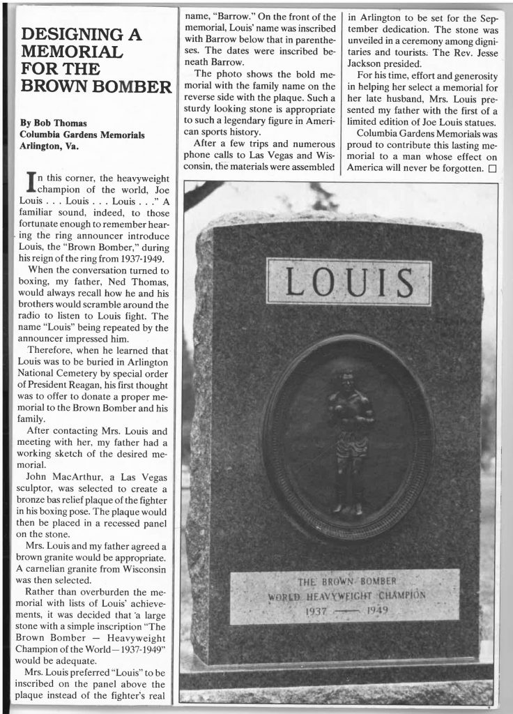 Designing a Memorial for the Brown Bomber, copy of the original article by Bob Thomas