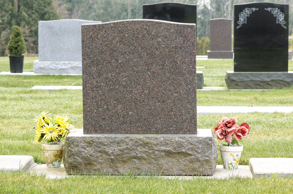 installed headstone in cemetary