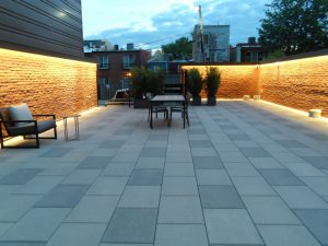 Heritage Foundation patio surrounded by large wall of donor recognition bricks