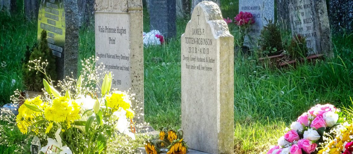 Headstones in a cemetary